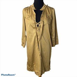 Diane von Furstenberg lace up shirt dress brown 8
